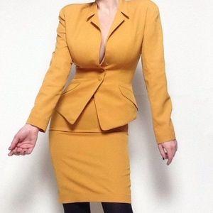 Thierry Mugler Mustard Yellow Skirt Suit